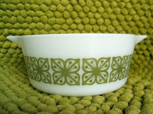 Vintage Pyrex (Square Flowers / Verde)