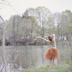 19/52 (Savannah Daras) Tags: portrait orange self project square back pond alone handmade bare pale crop barefoot spine tulle tutu secluded implied fairskin 52weeks wwwsavannahdarascom savannahdaras