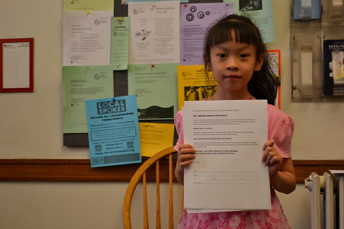 Ada Xie, 9, campaigning to keep Tompkins Square Library open
