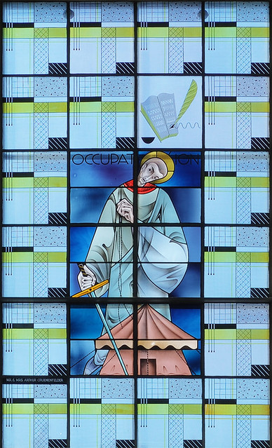 Saint Paul Roman Catholic Church, in Highland, Illinois, USA - stained glass window of Saint Paul with tent