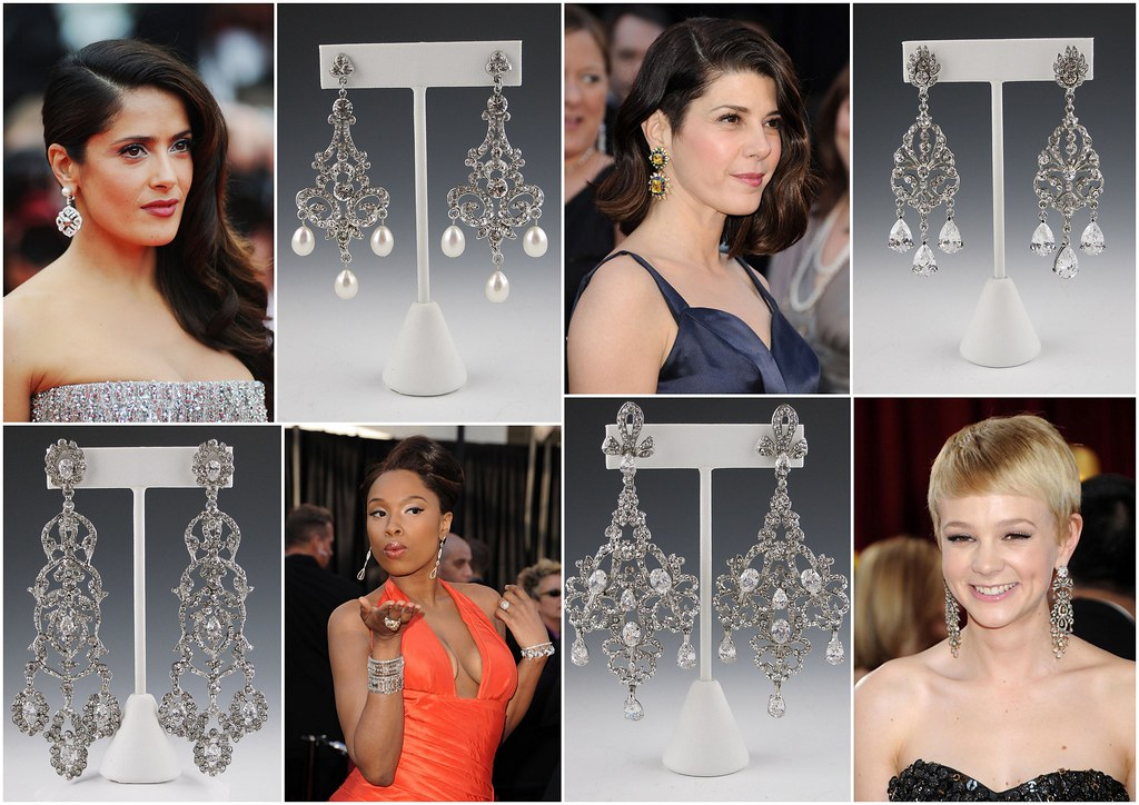 pearl and crystal chandelier bridal earrings, vintage inspired earrings, statement earrings, unique bridal jewelry, Swarovski crystal chandelier earrings, Brooklyn, New York City, bridal accessories, bridal jewelry, Salma Hayek, Jennfer Hudson, Marisa Tomei, Carey Mulligan