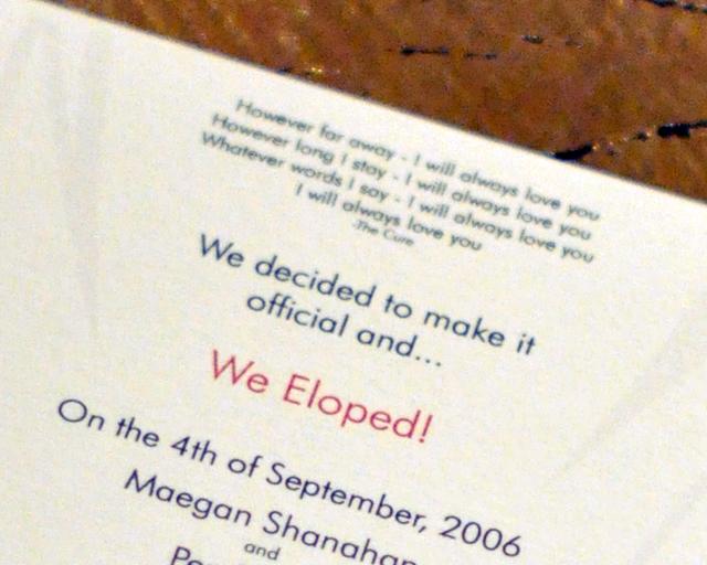our wedding reception invitation