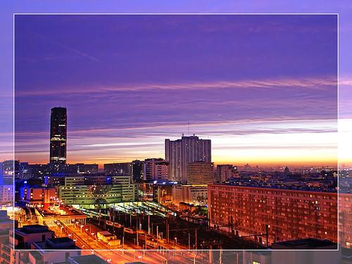 Colorful urban sunrise