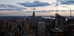 The Lower Side (silverlily) Tags: nyc newyorkcity sunset sky panorama usa newyork america buildings landscape nikon dusk manhattan rockefellercenter views empirestatebuilding empirestate vistas rockefeller birdseyeview topoftherock observationdeck viewfromabove gebuilding 1755mm d80 justdark
