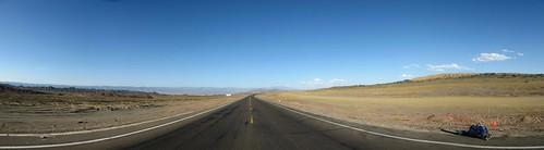Endless road and desert between Shanshan and Sandaolin on National Highway 312, Xinjiang, China