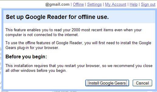 Cài đặt để sử dụng Google Reader ở chế độ Offline