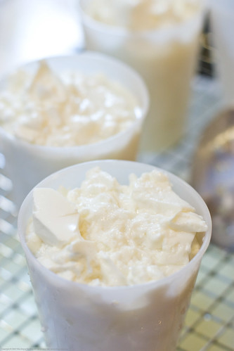 Making Chevre: curds in the mold