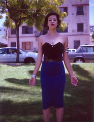 Alejandra, Soaking in the Rays (Lou O' Bedlam) Tags: portrait polaroid losangeles echopark alejandra polaroid250 corporatevampire louobedlam fujifp100c lounoble 61908 louobedlamcom