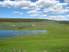 Lakes & Fields (ginfox) Tags: blue white lake reflection green clouds view northwest valley yellowstonenationalpark yellowstone wyoming