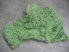 Green crochet scarf - in process