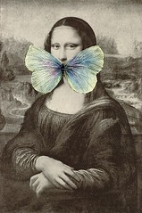 She Is Silent (nkimadams) Tags: blackandwhite collage butterfly monalisa davinci leonardo silenceofthelambs