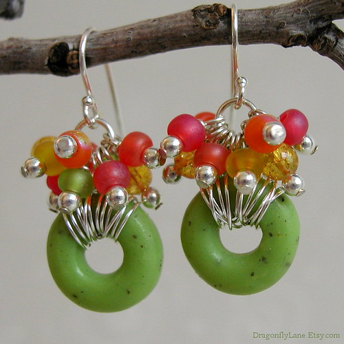 Donut bead cluster earrings