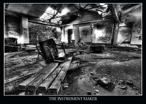 HDR Black and White derelict building from inside