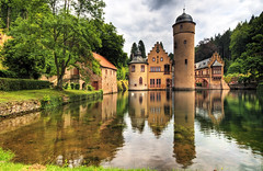 Schloss Mespelbrunn (Wolfgang Staudt) Tags: travel reflection tower beauty germany bayern deutschland nikon europe cloudy tripod sunday sigma clear reflexions renaissance hdr mespelbrunn wasserschloss wassergraben blueribbonwinner spessart travelphotographie watercastle wolfgangstaudt nikond300 mespelbrunncastle artinoneshot wasserschlossmespelbrunn elsavatal reisefotograie