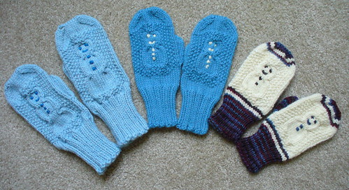 Knitting Pattern For Snowman Mittens : Ravelry: Cabled Snowman Mittens pattern by Jean Gifford