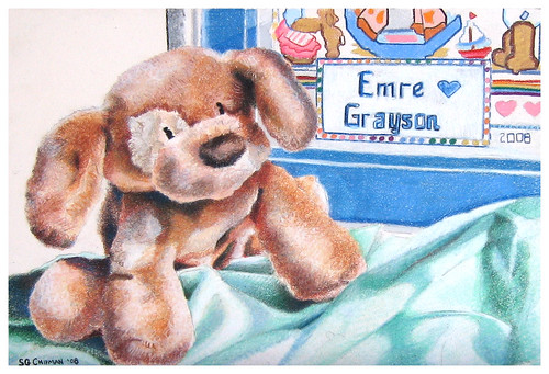 Colored pencil still life of a toy dog entitled For Emre.