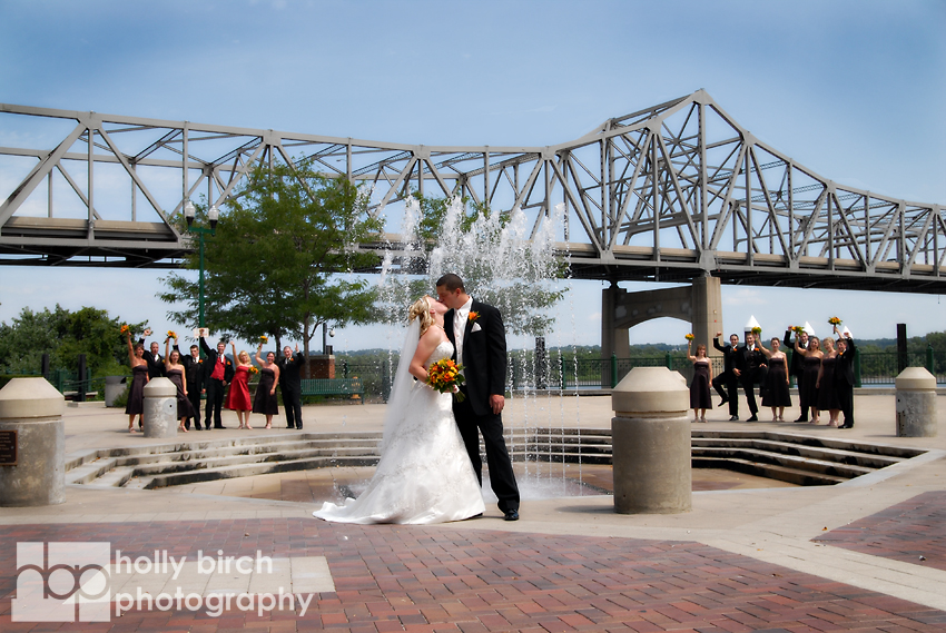 Riverfront wedding party