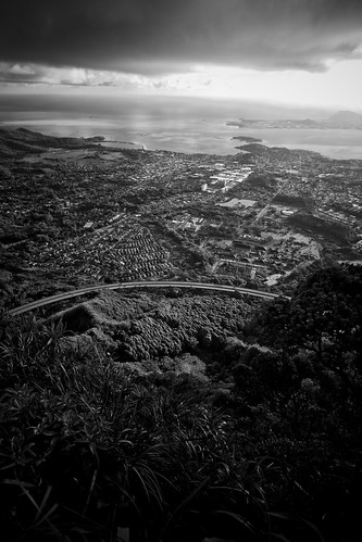 Black and white view of Kaneohe