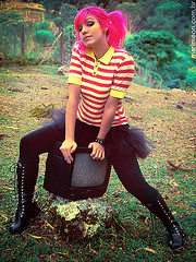 offline (marimoon) Tags: pink nature hair tv boots stripes grunge mtv dye combat tutu dyed marimoon