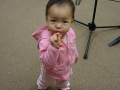Abby w/ a pretzel stick