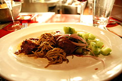 Soy Ginger-Anise Glazed Pork Mignon with Spicy Tamarind-Curry BBQ Pork Shoulder, Cool Peanut Chili Noodles, and Cool Cucumber Salad