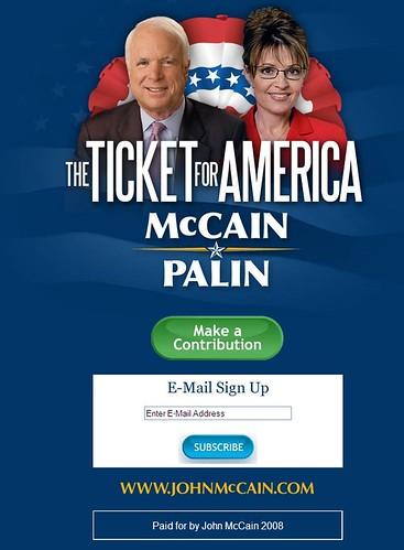 McCain Palin Landing Page