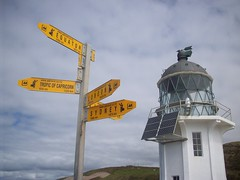 Lighthouse and directions, Cape Reinga (- MattW -) Tags: sea newzealand travelling london beach sydney pacificocean backpacking directions northisland northland kiwi tasmansea aotearoa capereinga