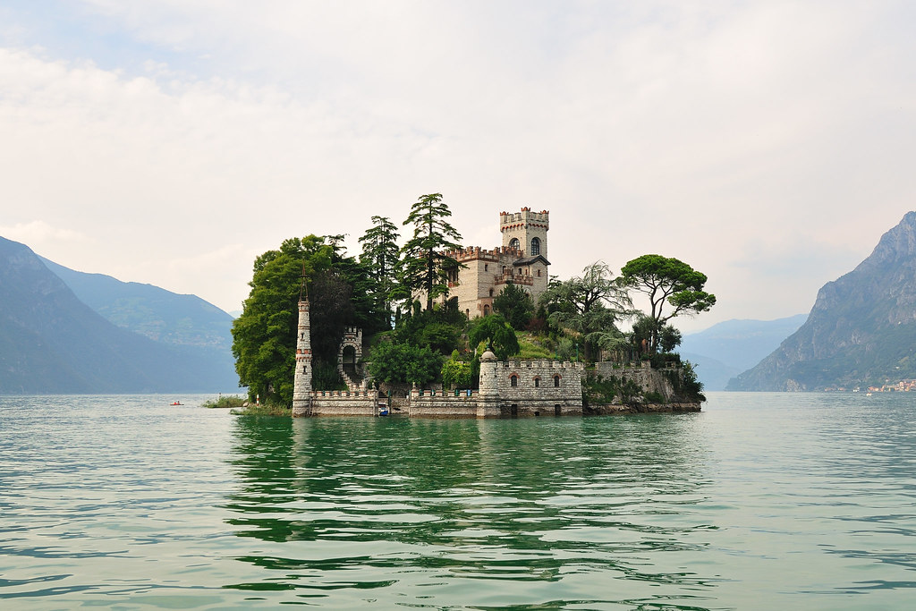 Isola di Loreto with neogothic castle arround year 900, Italy.