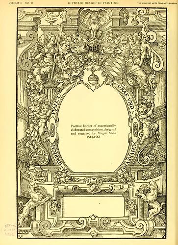 07-Portarretrato cenefa de excepcional elaboracion diseñado y grabado por Virgile Solis 1514-1562