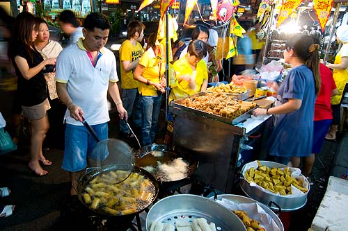 Buying meat-free food to take home during the annual Vegetarian Festival, Bangkok
