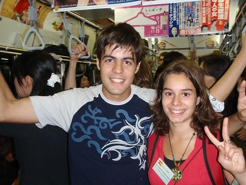 Con Melanie en la Yamanote Line