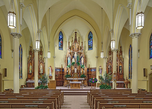 Saint Cecilia Roman Catholic Church, in Bartelso, Illinois, USA - nave