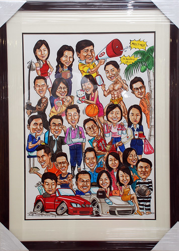 Group caricatures for HSBC in colour with frame