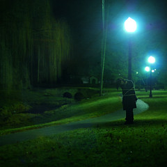 green street blues (brookeshaden) Tags: park bridge blue green colors night dark stream alone path sleep eerie rope lamppost squareformat tied capture weepingwillow nikond80