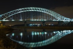 Widnes Runcorn Bridge By Night (MarkLandonPhotography) Tags: christmas longexposure family night photoshop canon eos cheshire lightroom loggerheads runcorn widnes grimupnorth 40d efs1755mmf28 widnesruncornbridge lightroom2