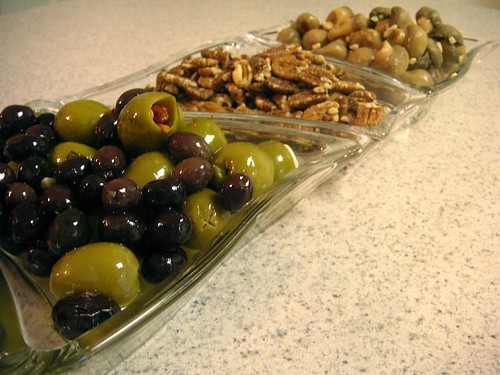 Olives. pecans, mushrooms