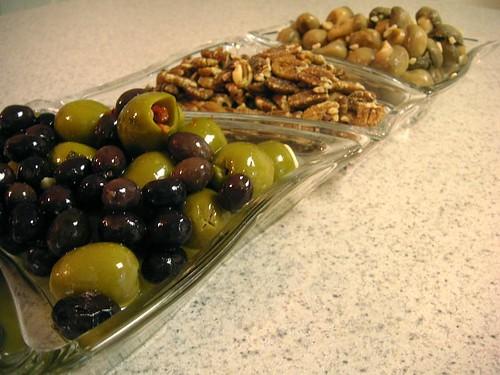 Olives. pecans, mushrooms