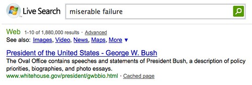 Miserable Failure @ Microsoft Live Search