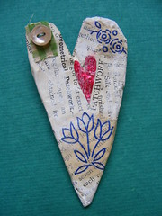 Papier Mache Heart brooch (hens teeth) Tags: heart papier mache