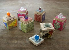 Teeny Tiny Boxes! (HA! Designs - Artbyheather) Tags: game collage vintage fun message box funky ephemera tiny scrabble bead piece teeny hadesigns artbyheather