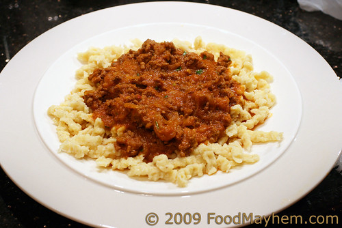 Cascabel Ground Beef Sauce over Spaetzle