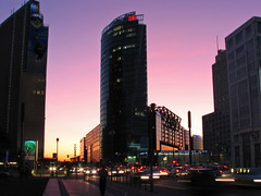 Potsdamer Platz, Berlin (Mike G. K.) Tags: light sunset berlin cars reflections germany square traffic dusk potsdamerplatz mikegk:gettyimages=submitted