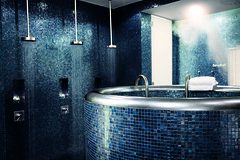 Wellness Area covered with blue tiles at the Hotel Concorde Berlin in Germany (Concorde Hotels Resorts) Tags: berlin germany relax shower cool mood lifestyle trendy concorde ideal interiordesign ambiance bluetiles rejuvenate hotelconcordeberlin concordehotel concordeberlin wellnessarea concordehotels concordehotelsresorts berlinconcorde