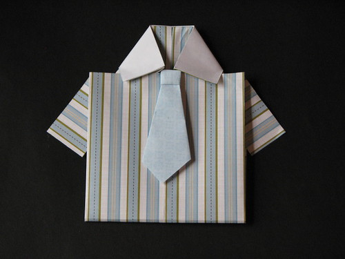 Origami Shirt Card & Tie 018