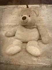 Tears before bedtime... (Annie in Beziers) Tags: france sepia toy lost teddy explore textures lostandfound layers nounours chezmoi littleted bziers annieinbziers muchcuddled