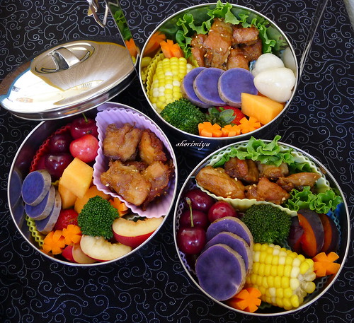 Triple Mochiko Chicken Bento by sherimiya ♥