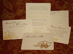 Wedding Invitations - Meredith and Ed (UglyKitty) Tags: party brown mountain gold handmade ivory savethedate gocco invitation stationary rsvp weddinginvitation uglykitty
