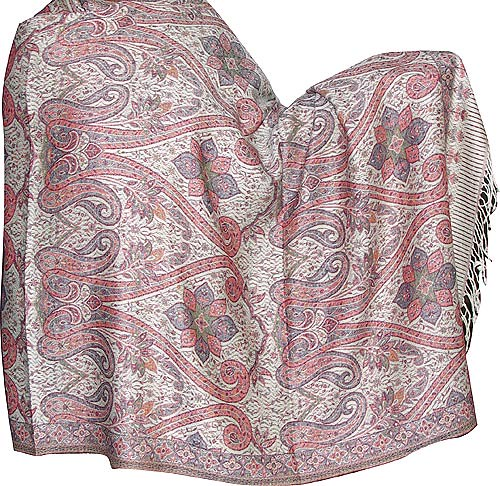 Womens Outerwear Wraps & Stoles ShalinCraft Wool Shawl Antique Paisley Pattern