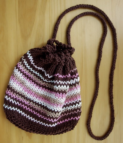Brown and Pink Cotton Knit Purse -- Long Handle