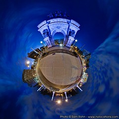 Planet Brooklyn :: Grand Army Plaza (Sam Rohn - 360 Photography) Tags: nyc newyorkcity blue sunset sky panorama architecture brooklyn night interesting nikon arch purple dusk panoramic photograph sphere polar nikkor hdr grandarmyplaza hdri 360 d300 stereographic planetoid locationscout 105mmf28gfisheye littleplanet samrohn smallplanet stereographicprojection enfuse nylocation